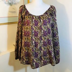 Lucky Brand Boho Peasant Top Size S Semi Sheer